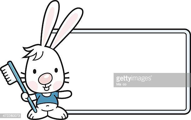 bunny with toothbrush and blank sign