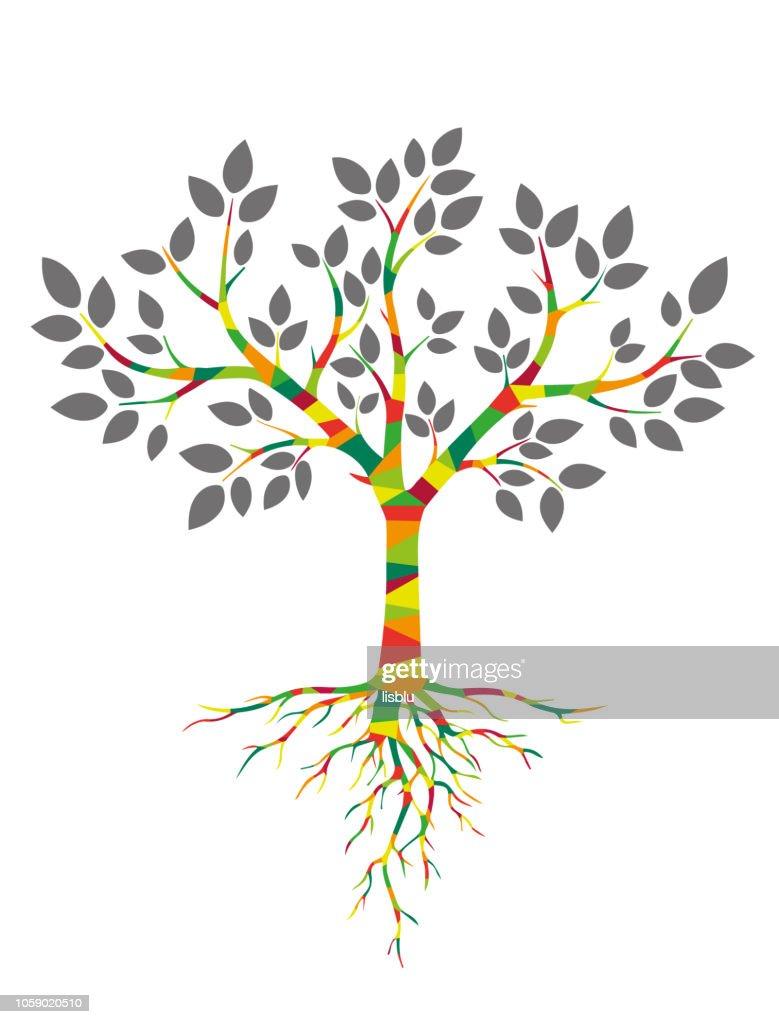 Bunter Baum mit Blättern