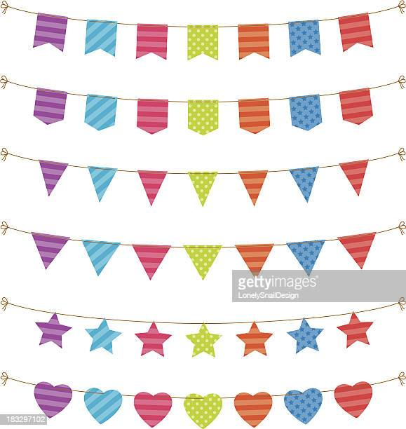 bunting and flags - pennant stock illustrations