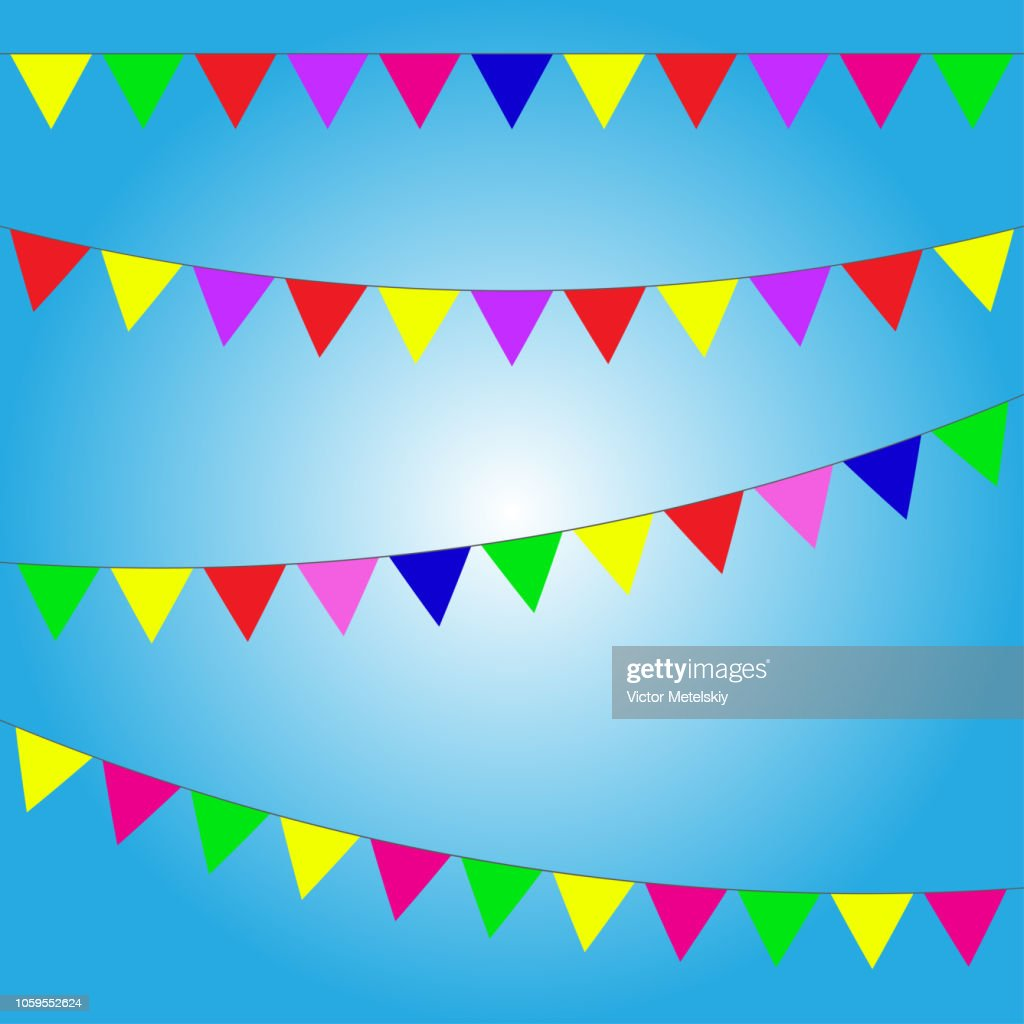 Bunting and garland set. Colorful festive flags or pennants. Vector illustration on blue background. Elements for celebrate, party or festival design.