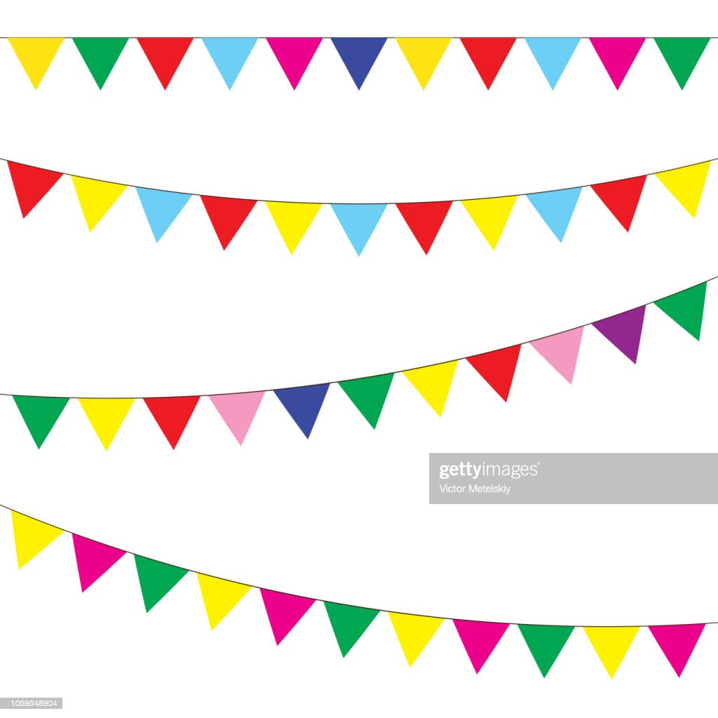 Bunting and garland set. Colorful festive flags. Vector illustration. Elements for celebrate, party or festival design.