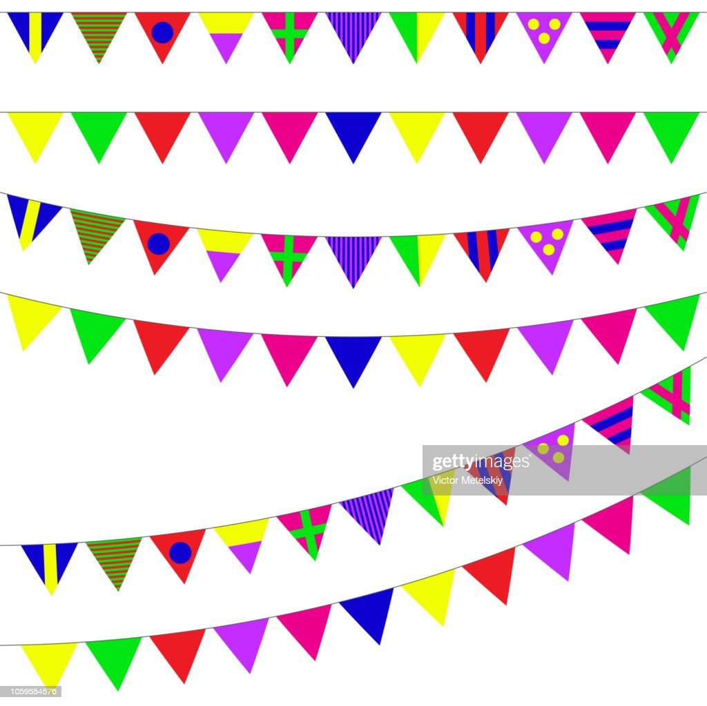 Bunting and garland set isolated on white background. Colorful festive flags. Vector pennant illustration. Design elements for celebrate, party or festival.