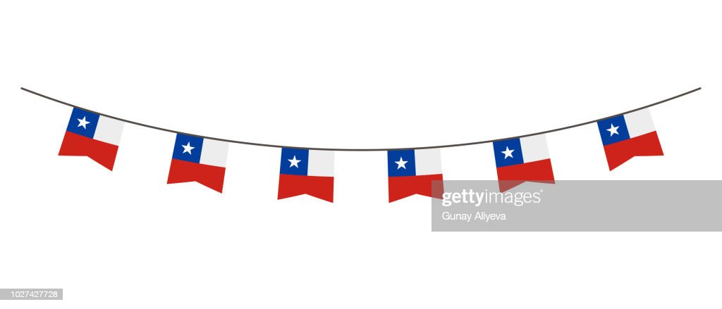 Bunting decoration in colors of Chile flag. Garland, pennants on a rope for party, carnival, festival, celebration. For National Day of  Chile on August18