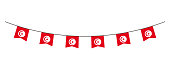 Bunting decoration in colors of Tunisia flag. Garland, pennants on a rope for party, carnival, festival, celebration. For National Day of  Tunisia on August18