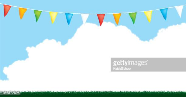 Bunting Flag Background with Grass and Blue Sky