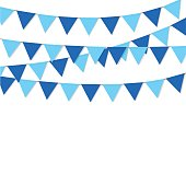 bunting flag blue color isolated vector