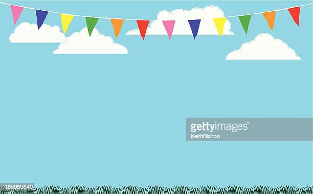 bunting flags background with grass and sky - gala stock illustrations
