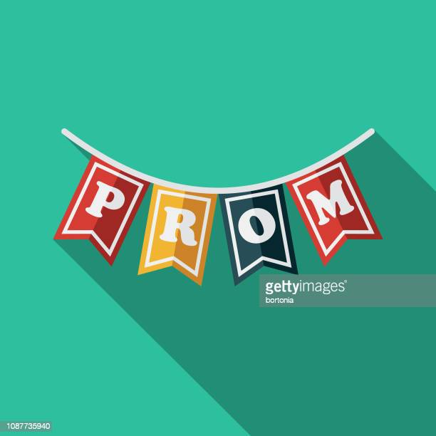 bunting flat design prom icon - high school prom stock illustrations