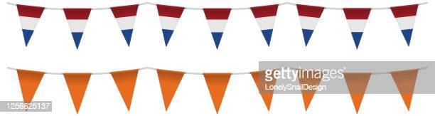 bunting netherlands - orange color stock illustrations