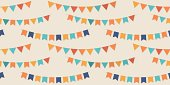 Bunting party flags seamless vector pattern