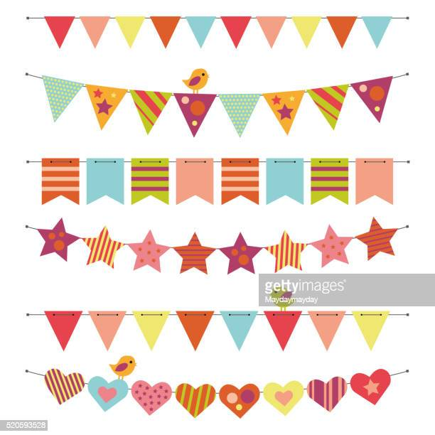 buntings and garlands - carnival celebration event stock illustrations, clip art, cartoons, & icons