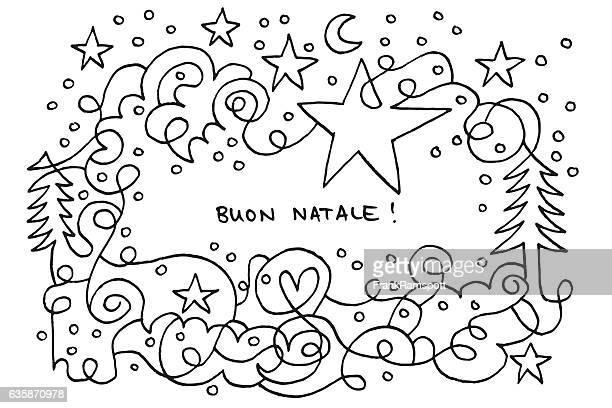 illustrazioni stock, clip art, cartoni animati e icone di tendenza di buon natale natale star night doodle disegno - un singolo oggetto