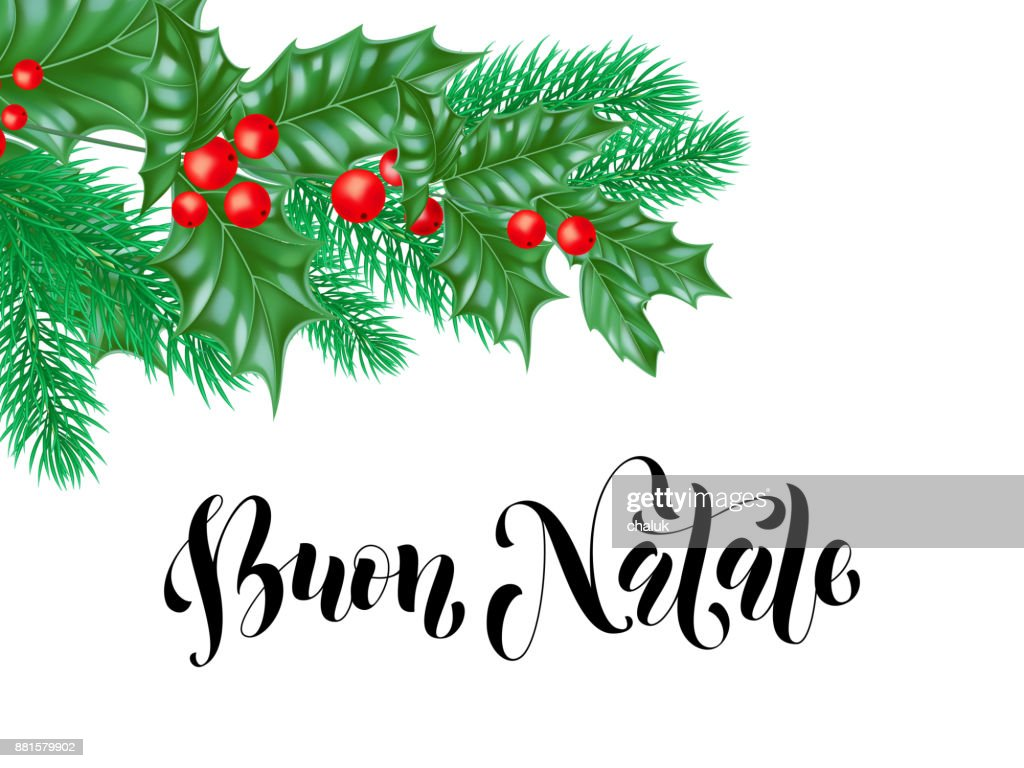buon natale italian merry christmas holiday hand drawn calligraphy text for greeting card of wreath decoration