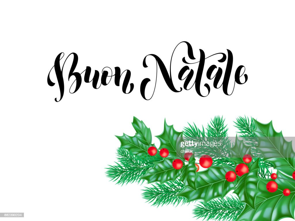 Merry Christmas In Italian.Buon Natale Italian Merry Christmas Holiday Hand Drawn Quote