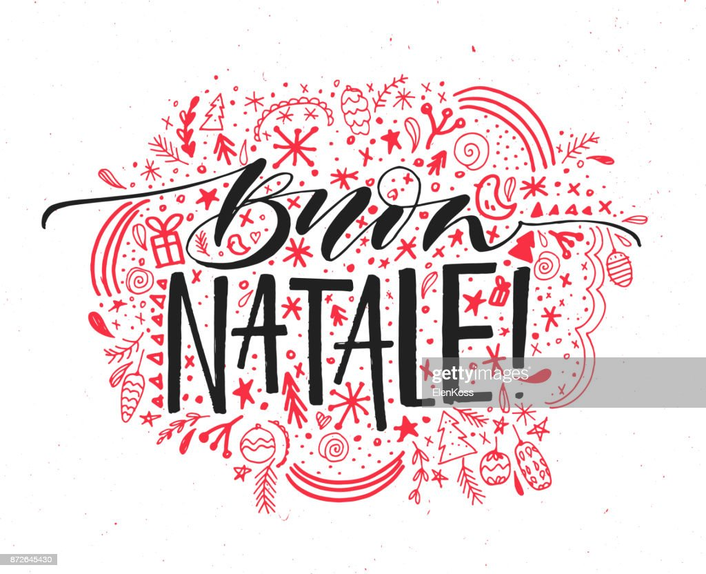 Buon Natale Italian Merry Christmas Text Vector Greeting Card With