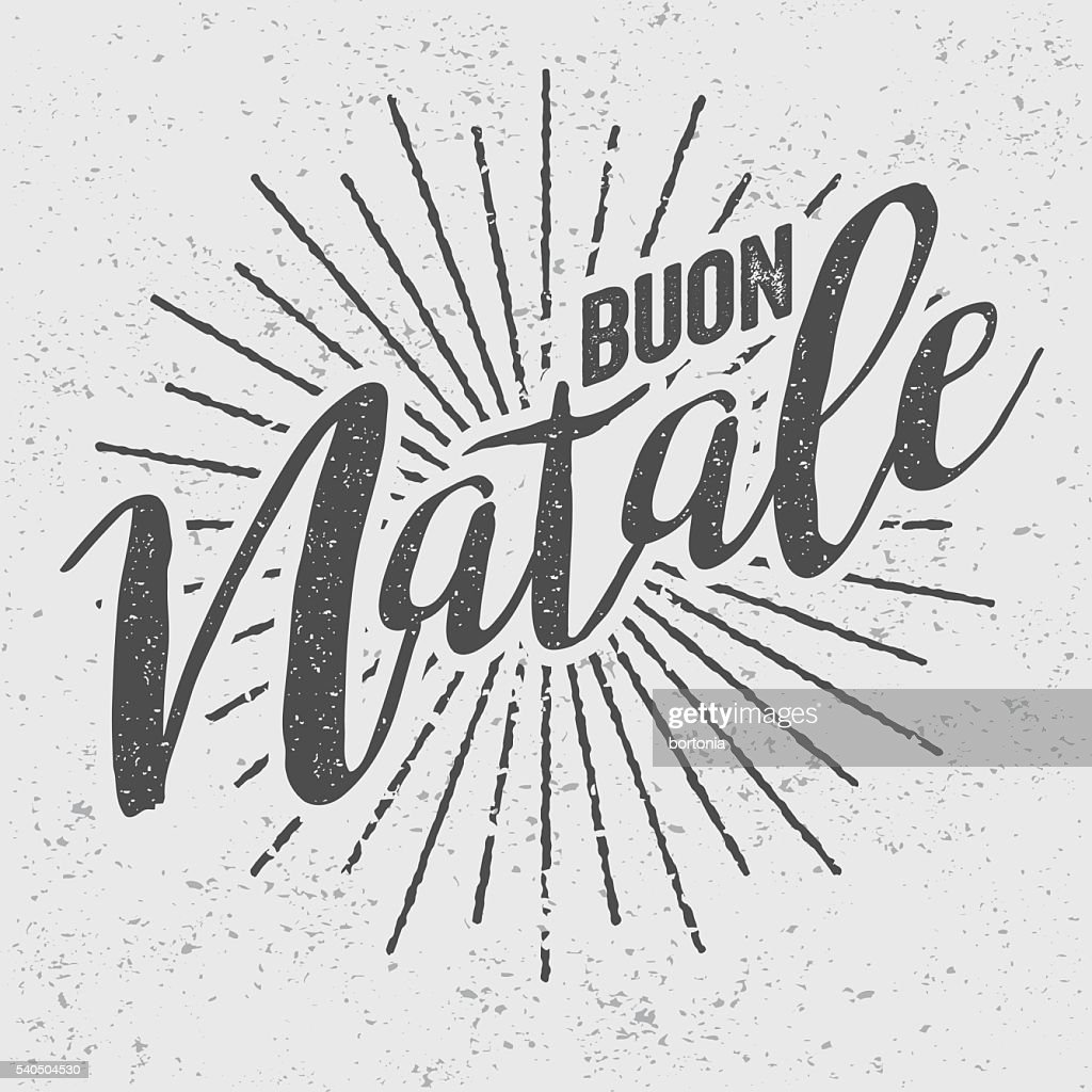 Buon Natale Italian Vintage Screen Print Vector Art | Getty Images