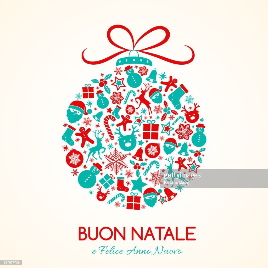 Buon Natale Merry Christmas In Italian Concept Of Christmas Card