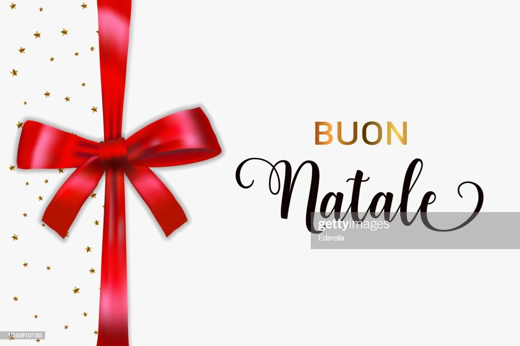 Buon Natale Merry Christmas italian typography. Christmas vector card with blue realistic bow and golden stars.