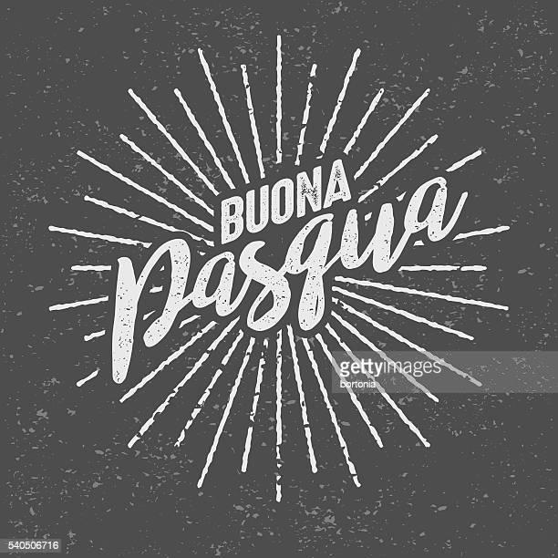 buona pasqua ('happy easter' in italian) vintage screen print - buona pasqua stock illustrations