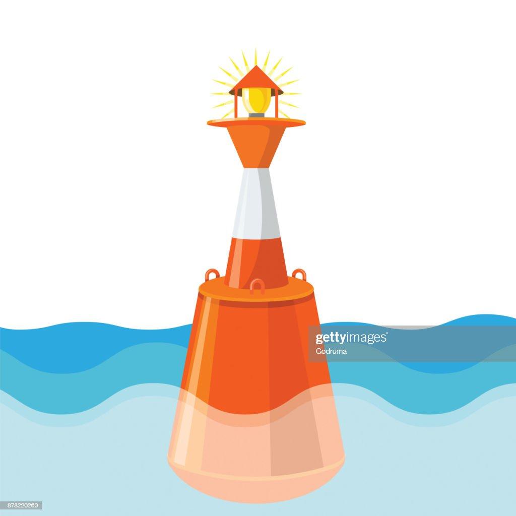 Buoy in deep sea waters aids pilotage marking maritime channel
