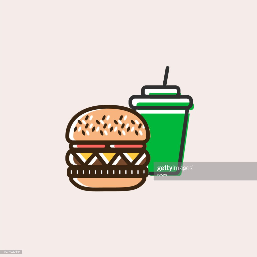Burger and soft drink icon