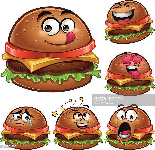 burger cartoon set a - hamburger stock illustrations, clip art, cartoons, & icons