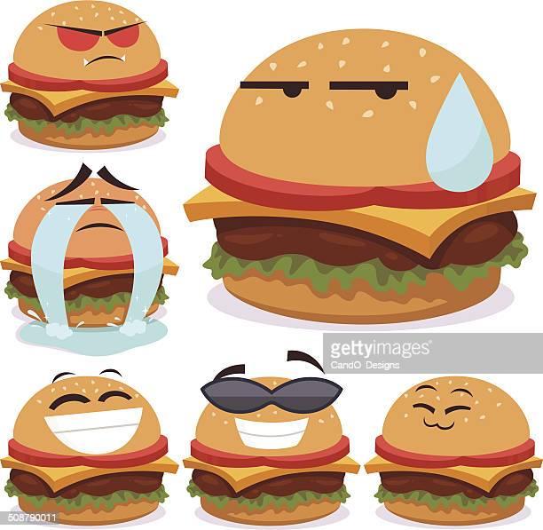 burger cartoon set b - anthropomorphic foods stock illustrations, clip art, cartoons, & icons