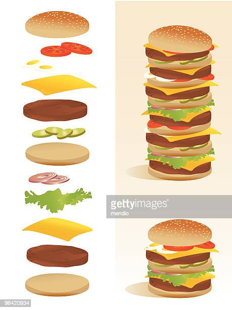 burger deconstruction - all ingredients separated - large stock illustrations