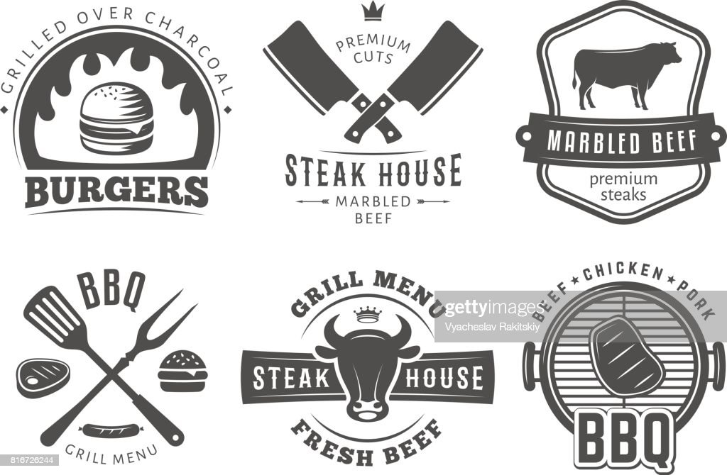 BBQ, burger, grill badges.