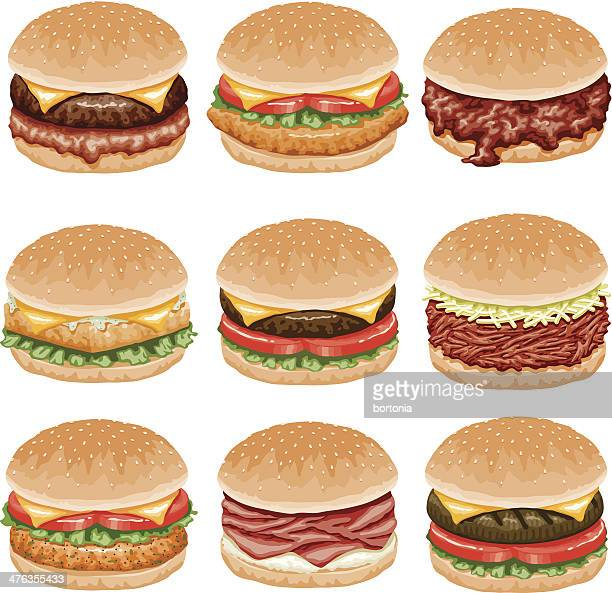 burger icon set - sloppy joe, jr stock illustrations