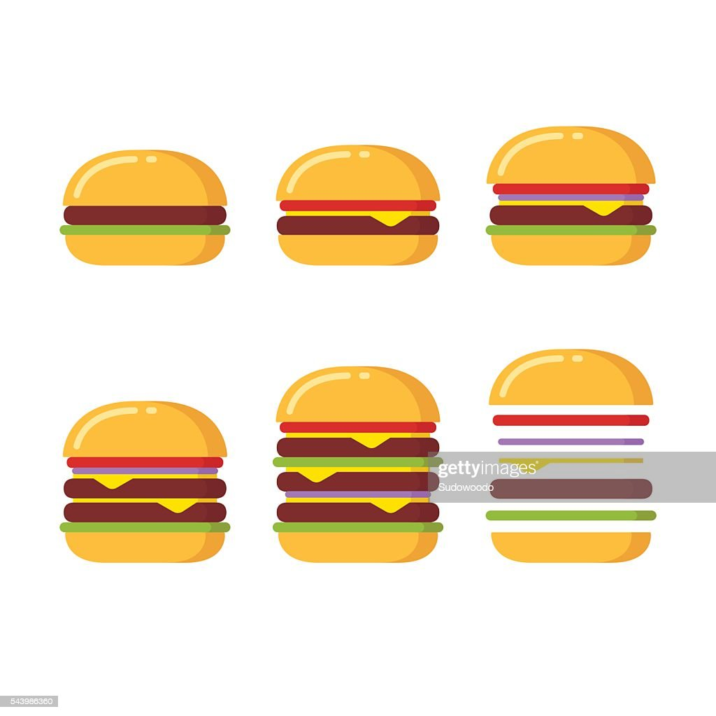 Burger icons set