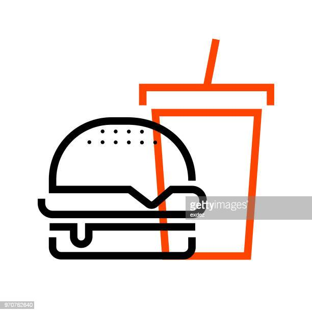 burger meal icon - carbonated stock illustrations, clip art, cartoons, & icons
