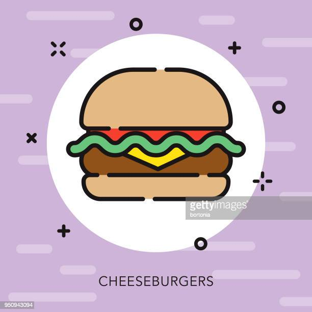 burger open outline street food icon - ground beef stock illustrations, clip art, cartoons, & icons
