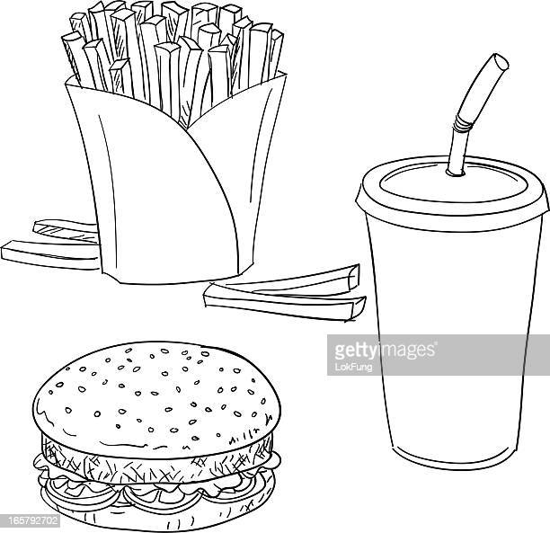 burger set with fries in black and white - french fries stock illustrations, clip art, cartoons, & icons