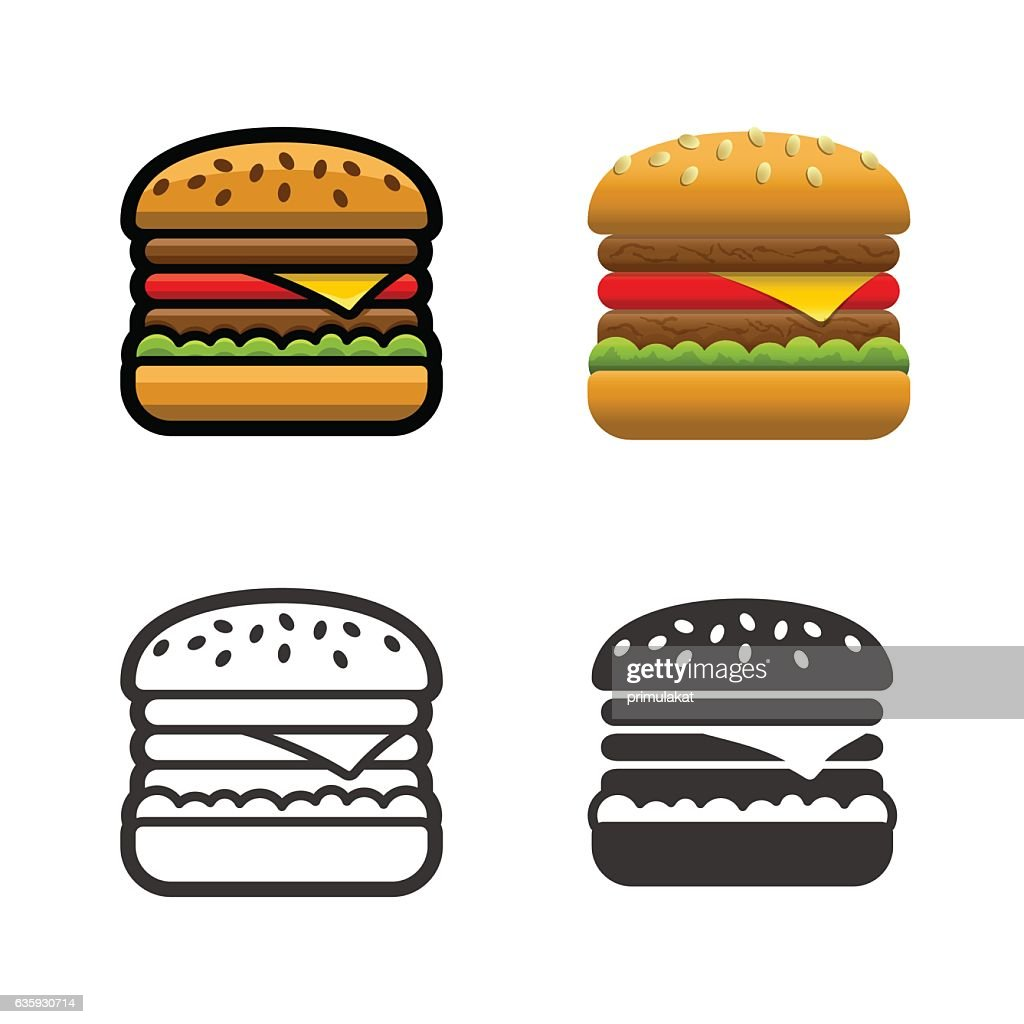Burger vector colored icon set