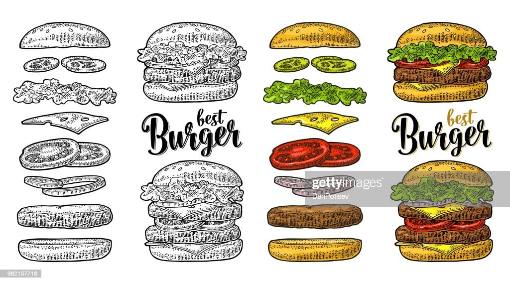 Burger with flying ingredients on white background. Vector black vintage engraving