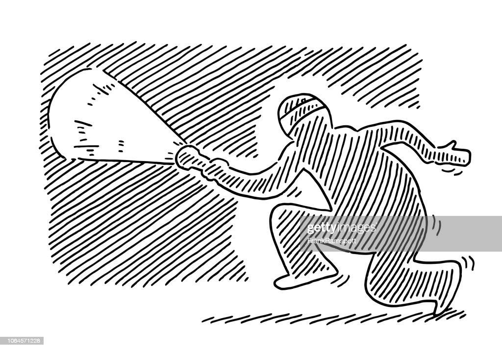 Einbrecher nachts mit Taschenlampe Zeichnung : Vektorgrafik