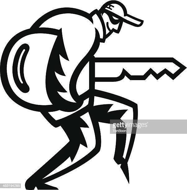 burglar carrying a huge carkey
