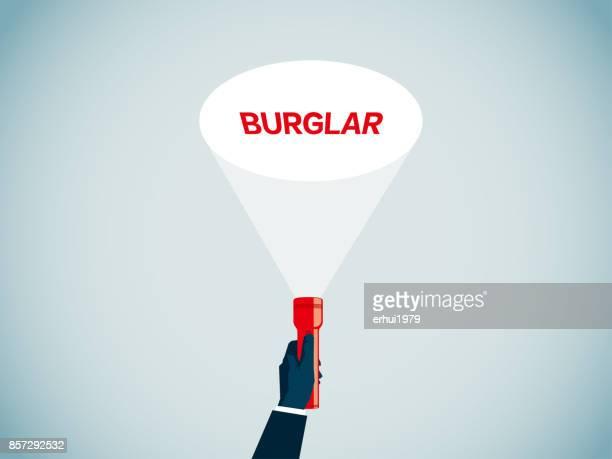 burglar - flashlight beam stock illustrations, clip art, cartoons, & icons