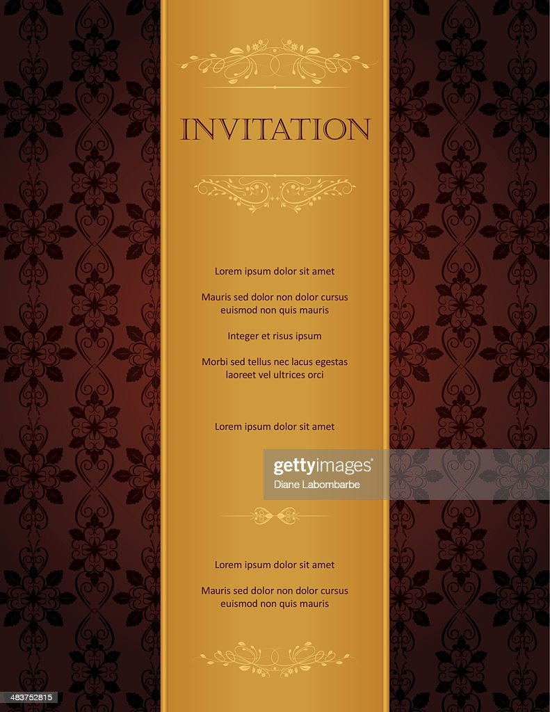Burgundy Gold Damask Pattern With Ornate Frame Greeting Card Invitation