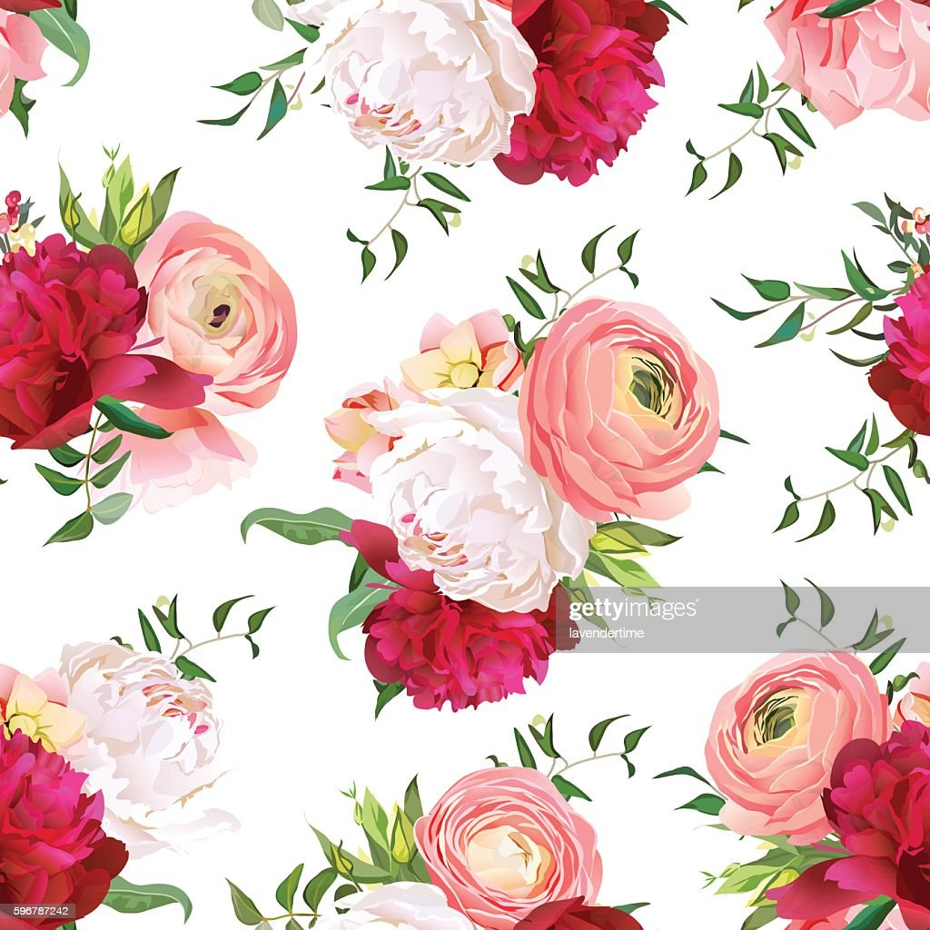 Burgundy red and white peonies, ranunculus, rose seamless vector pattern.