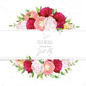 Burgundy red and white peonies, ranunculus, rose vector design frame.