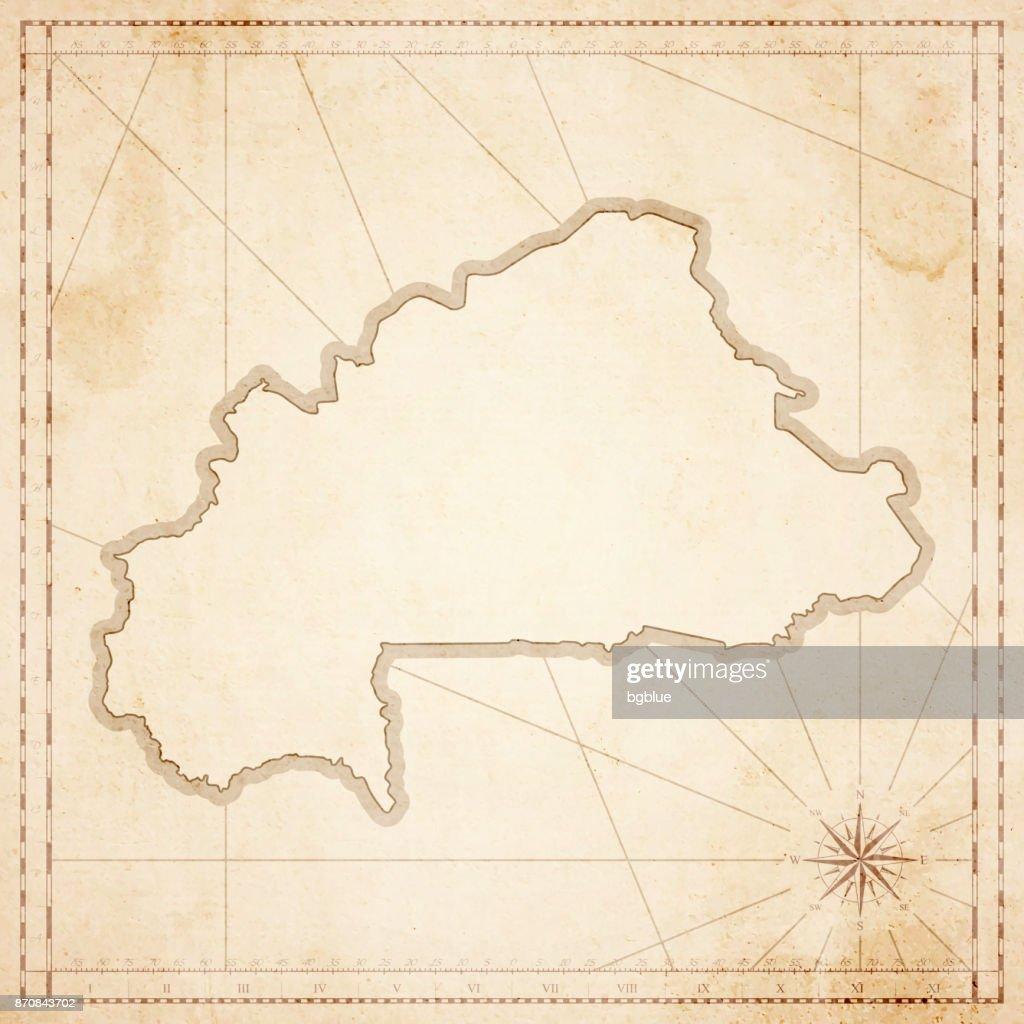 Burkina Faso Karte Im Retrovintagestil Strukturierte Altpapier ...