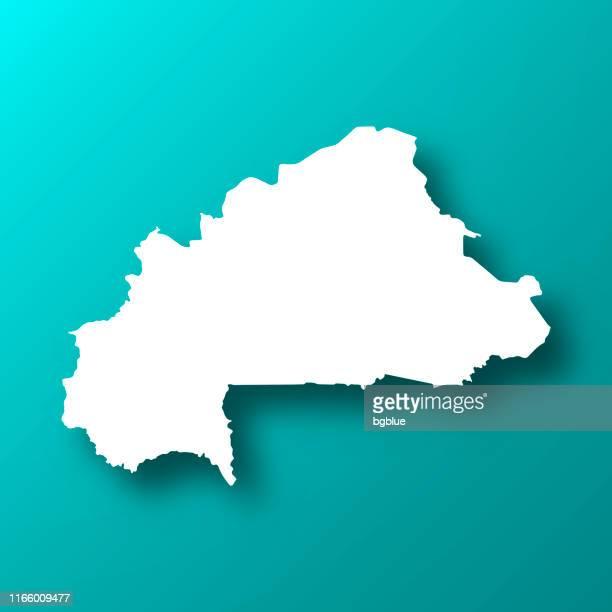 burkina faso map on blue green background with shadow - ouagadougou stock illustrations