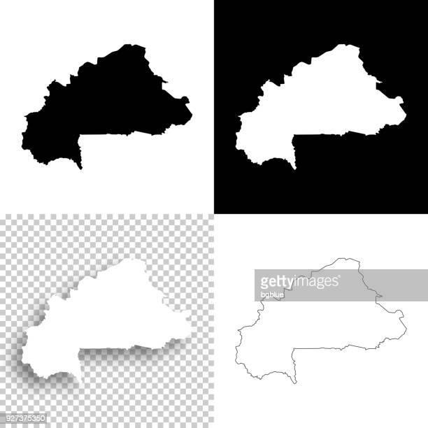 burkina faso maps for design - blank, white and black backgrounds - burkina faso stock illustrations