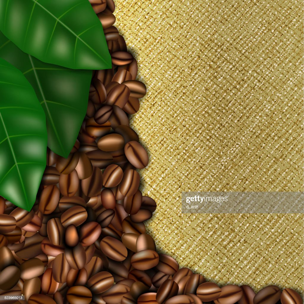 Burlap background with coffee beans and leaves