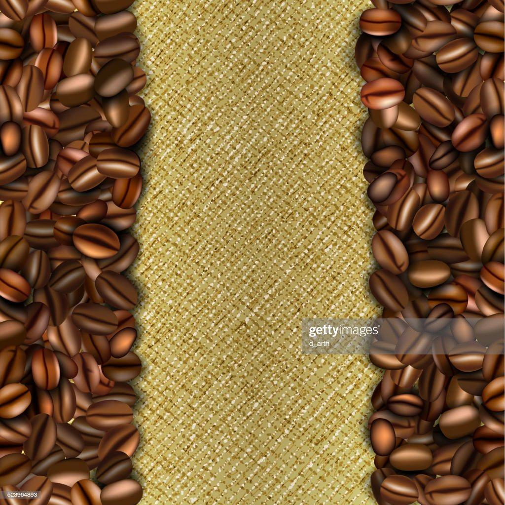 Burlap background with coffee beans