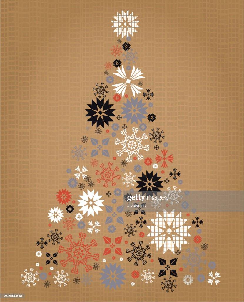 Burlap Kitschy Vintage Christmas Greeting Design With Christmas ...