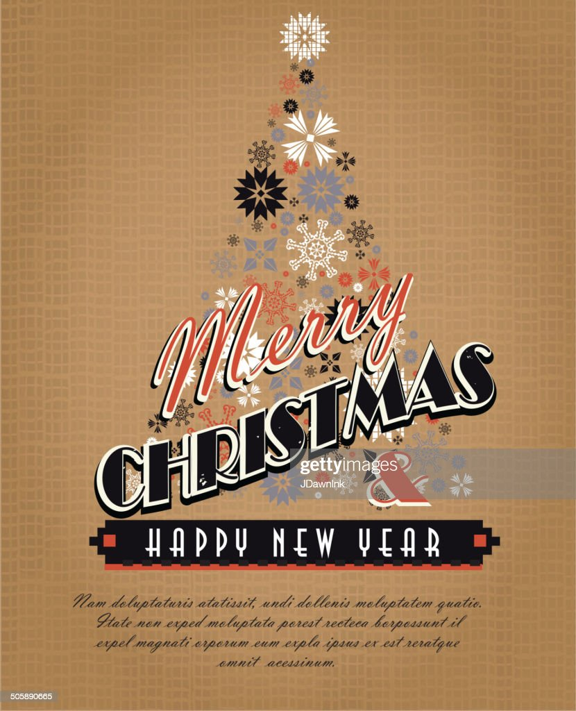 Burlap Kitschy Vintage Christmas Greeting Design With Holiday Tree ...