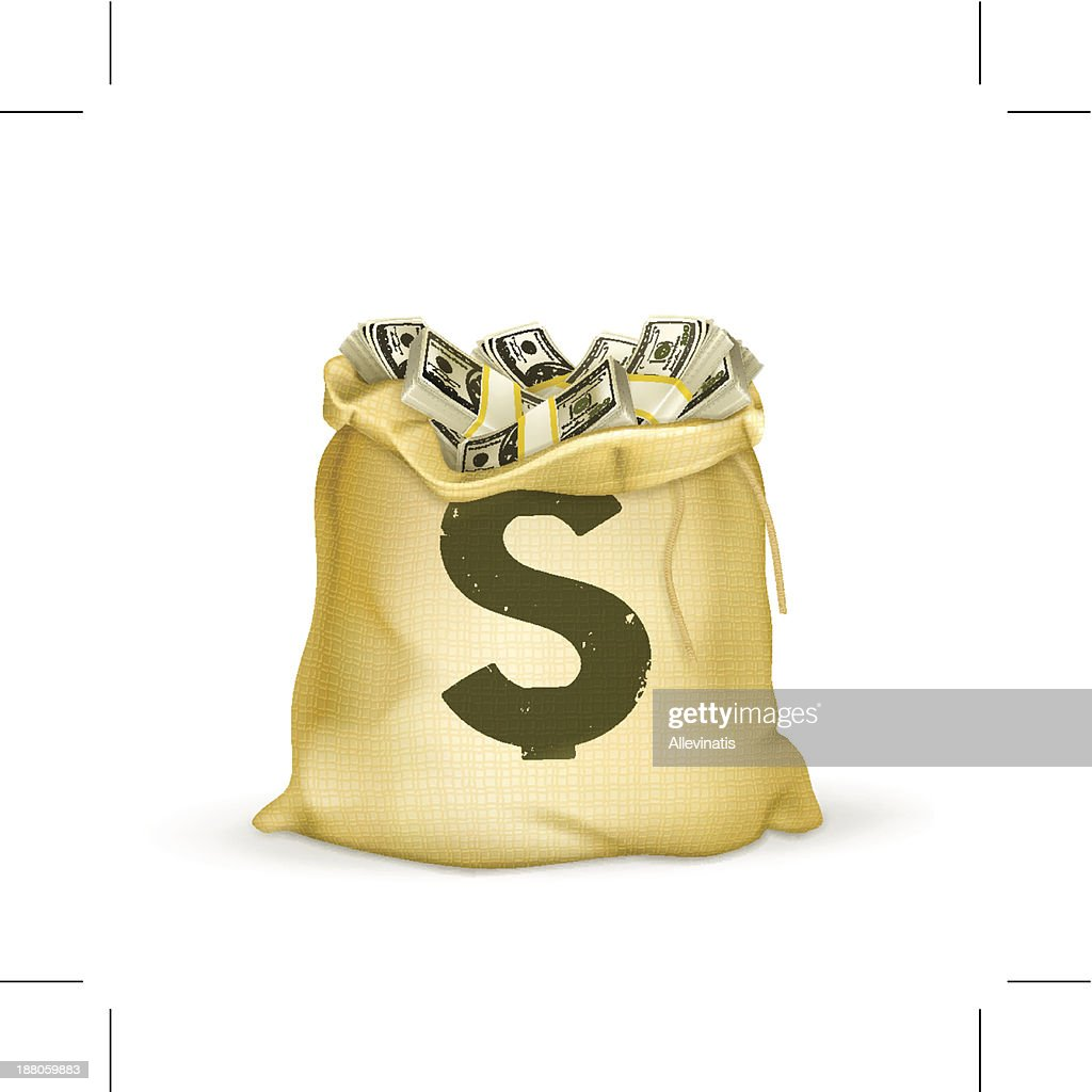 Burlap sack of cash with green dollar sign